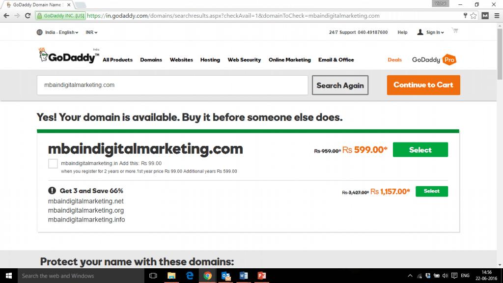 book a domain on GoDaddy